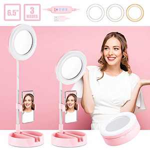 """ALUOCYI Portable Selfie Ring Light with Stand and Phone Holder,6.5"""" LED Makeup Ring Light with Mirror, 3 Color Modes and 10 Brightness for Traval/Live Stream/Video Recording/Photography (Pink)"""