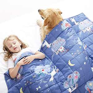Joyching Weighted Blanket Kids 2 lbs 36x48 inches Egyptian Cotton 600TC Toddler Weighted Blankets, Weighted Throw Blankets for Child Size Bed with Glass Beads Printed Blue Unicorn