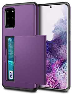 SAMONPOW Case for Galaxy S20 Plus Case Galaxy S20+ Wallet Case with Card Holder Shell Heavy Duty Anti Scratch Dual Layer Hard PC Soft Rubber Cover for Galaxy S20 Plus S20+ 6.7 inch,Purple