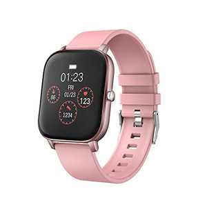 """moreFit Smart Watch, 1.4"""" Fitness Tracker with Sport Model Heart Rate Calorie Sleep Monitor Music Control IP68 Resistant for Women and Men (Pink)"""