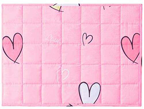 Joyching Weighted Lap Pad for Kids Pets 20 x 30 inches, 5lbs 600TC Egyptian Cotton Weighted Blanket for Reading with Glass Beads Pink Heart
