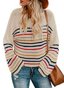 LOSRLY Womens Crew Neck Long Sleeve Knit Sweater Casual Color Block Striped Pullover Jumper Loose Blouses Beige Small