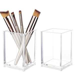 Clear Acrylic Pen Holder - Pencil Holder for Desk, Cute Desktop Pencil Cup, Stationery Organizer for Office Desk Accessory, Makeup Brush Holder,2Pcs