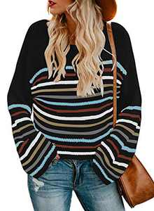 LOSRLY Womens Juniors Striped Color Block Sweater Long Sleeve Lightweight Knit Pullover Tops Tunic Shirts Blouses Black Large