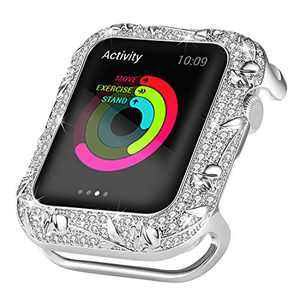 Ritastar Bumper Case for Apple Watch 40mm Stainless Steel Bling Rhinestone Protective Cover Anti-Scratch Shockproof Full Coverage Protection with Rose Jewelry for iWatch Series 6 SE 4 5,Silver