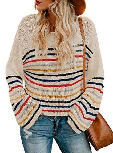 LOSRLY Womens Crew Neck Long Sleeve Knit Sweater Casual Color Block Striped Pullover Jumper Loose Blouses Beige Large