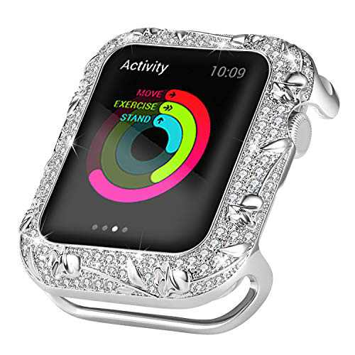 Ritastar Bumper for Apple Watch Cover 44mm Stainless Steel Bling Protective Case Anti-Scratch Shockproof Anti-Crack Full Protection Embossed with Metal Rose for iWatch 6 SE 4 5 Women Girls,Silver