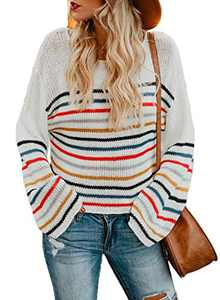 LOSRLY Womens Striped Knit Sweater Color Block Round Neck Long Sleeve Rainbow Casual Loose Blouses White Medium