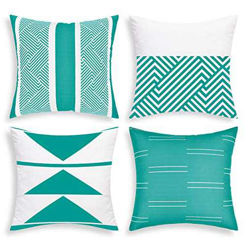 """VERTKREA Throw Pillow Covers Modern Geometric Pillowcase Set of 4 Throw Cushion Cover for Bed Couch Sofa Office Decor (Lake Blue, 18"""" × 18"""")"""