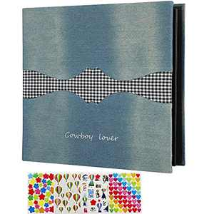 ZEEYUAN Huge Magnetic Scrapbook Album 11x10.8 inch Self Adhesive Photo Album, Denim Hardcover DIY Photo Album Large Travel Album, 40 Pages Double Sides Protective Film