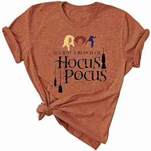Womens Halloween T-Shirts Basic Witch Coffee Graphic Hocus Pocus Novelty Casual Short Sleeve Tee Tops (Orange #1, M)