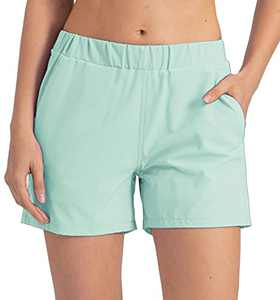 REYSHIONWA Women's Quick-Dry Running Athletic Shorts Gym Workout Sports Active Yoga Shorts with Pockets- 4 Inches Bleached Aqua