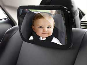 RRAS Rear Facing Infant Car Mirror | Easy to Install | Wide Crystal Clear View | Shatterproof