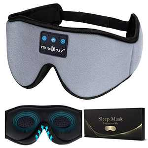 MUSICOZY Sleep Headphones 3D Bluetooth 5.2 Headband Sleeping Headphones, Wireless Music Eye Sleep Mask Earbuds for Side Sleepers Cool Tech Gadgets Unique Gifts, Built-in Ultra Soft Thin Speakers