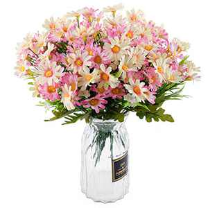 Silk Daisy Artificial Wildflowers Greenery Shrubs Plants 6 Bouquets Faux Gerber Daisy Flowers for Home Outside Farmhouse Garden Decoration (Light Pink)