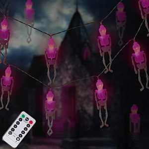 DAYLIGHTIR Ghost Skeleton Lights Halloween String Lights, 2PACK 15LED Remote-Control Baterry-Powered Perfect Halloween Decoration for Outdoor, Indoor, Garden, Yard, Tree, Party (2, Purple)