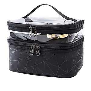 Makeup Bag Cosmetic Bag Double Layer Travel Makeup Organizer Bag For Women (Black)