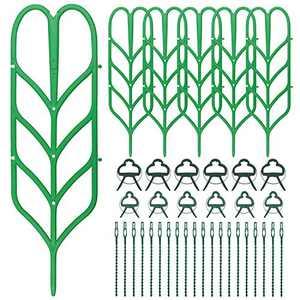 Hysagtek 38 Pcs Plant Trellis Kits, Trellis Plant Support Including 6 Climbing Garden Leaf Shape Supports, 12 Flower Lever Loop Gripper Clips and 20 Plant Wrap Tie for Stems Stalks Vine Vegetable
