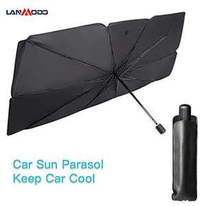 LANMODO Car Windshield Sun Shade Umbrella Set up in 10s, Retractable Portable Front Window Sunshade Keeps Your Vehicle Cool & Damage Free, Anti-UV, Water-Resistant, 57x31 inches Fits Various Models