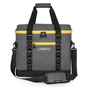 LUNCIA 45L (60-Can) Collapsible Large Cooler Bag Insulated Cool Bag with Leakproof Soft Sided for Picnic Camping/BBQ/Family Travel, Grey