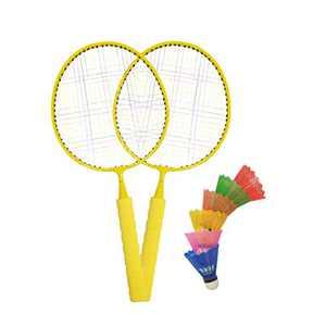 Macro Giant Badminton Set, with 2 Yellow Rackets, 6 Colorful Plastic Shuttlecocks, Kids' Play, Backyard, Playground