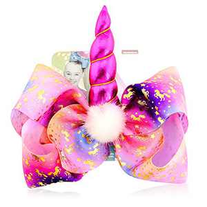 Unicorn Hair Bow for Girls - 8 Inch Large JoJo Siwa Style Hair Bow with Alligator Clips Hair Barrettes Accessories Unicorn Bows Best Xmas Gift