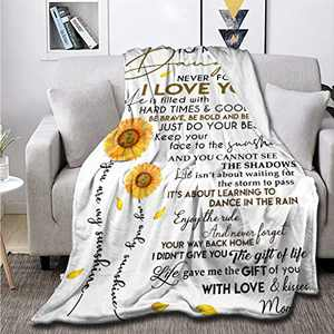Sunflower Love Letter to My Daughter Fleece Flannel Throw Blanket Sherpa Microfiber Lightweight Plush for Couch Bed Sofa Car Kids Adults Pets All Seasons Multi-Size 50x40IN for Kids