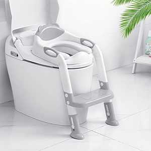 Victostar Potty Training Seat with Step Stool Ladder, Foldable Potty Training Toilet for Kids Boys Girls Toddlers-Comfortable Cushion Safe Handle Anti-Slip Pads (Gray)