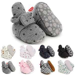 Newborn Baby Boys Girls Fleece Cotton Booties Non-Slip Sole Infant Winter Warm Slipper Socks Stay On Crib Shoes
