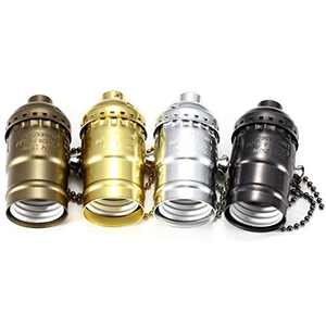 Lewedo Vintage Brass Light Socket (E26/E27) - 4 Color Punk Industrial Light Bulb Socket, Edison Pendant Lamp Copper Chain for Ceiling Pendant Light/Wall Light, 1 Pcs(Black)