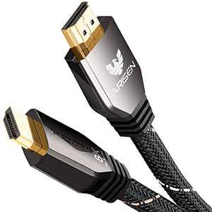 HDMI 2.1 Cable, Ultra High Speed 48Gbps 8K HDMI Cable 8ft, Heavy Duty Braided HDMI Cord 4K@120 8K@60Hz, Dolby Vision eARC HDR10 4:4:4 Compatible with RTX 3080 3090 PS5 PS4 Xbox Series X UHD TV Laptop