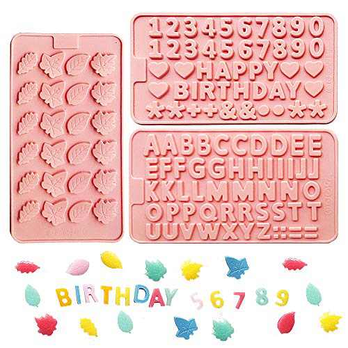 MOMOCAT Leaves,Letters, Birthday, Silicone Gummy Molds ,Chocolate Molds (3pack )