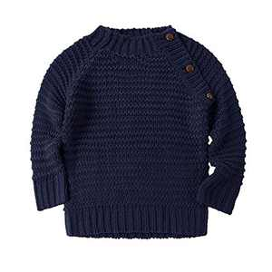 Makkrom Baby Boys Girls O-Neck Toddler Sweaters Loose Winter Knitted Pullover Warm Outwear Navy