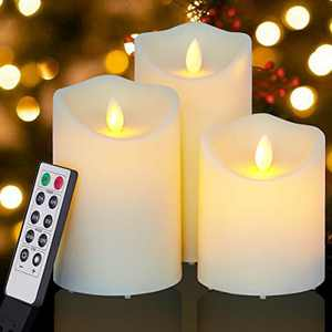 "Enido Flickering Flameless Candles Outdoor Waterproof Battery Operated Candles Led Candles Plastic Candle Set of 3 Include Realistic Dancing LED Flames with Remote Control (D:3.25""x H:4""5""6"")"