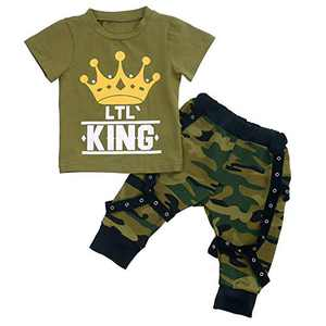 Baby Boys Short Sleeve Lil King Crown T-Shirt and Camouflage Pants Outfit Summer Clothes Set (2-3 Years, Army Green)