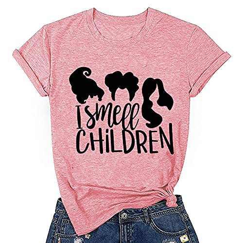 T&Twenties Women's I Smell Children Halloween T Shirt Sanderson Sisters Graphic Funny Short Sleeve Tee Shirt