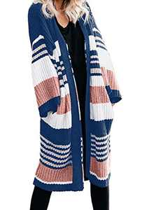 EVALESS Womens Casual Cozy Knit Open Front Long Cardigan Sweater with Pocket Blue L