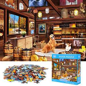 KAVAVO 1000 Piece Blue Hard Cardboard Jigsaw Puzzle for Adults,[Hunter Room] Premium Recyclable Materials and High Definition Printing,Family Play,Present & Gift for Lovers or Friends