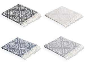 Valorosa 4-Pack Turkish Hand Towels 23x39 inches 100% Cotton Double Weave Damask Pattern - Decorative Peshtemal Towel for Hand, Face, Hair, Gym, Yoga, Tea, Kitchen, and Bath (Mix)