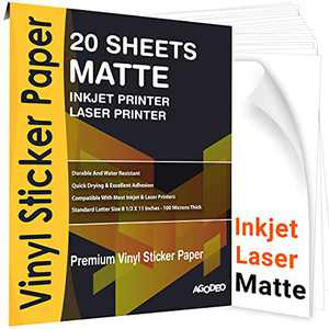 """Printable Vinyl Sticker Paper for Inkjet & Laser Printer - 20 Premium Sheets White Decal Matte- Waterproof, Tear Resistant, Dries Quickly and Holds Ink Perfectly - Standard Letter Size 8.5""""X11"""""""