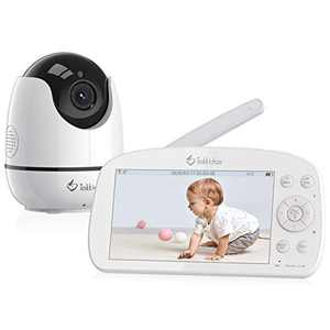 """Tokkidas Video Baby Monitor with Camera and Audio Remote Pan-Tilt-Zoom Two Way Talk 5.5"""" 1080P LCD Screen Wireless Toddler Monitor with Infrared Night Vision, Temperature Display, Lullaby, Clock Alarm"""