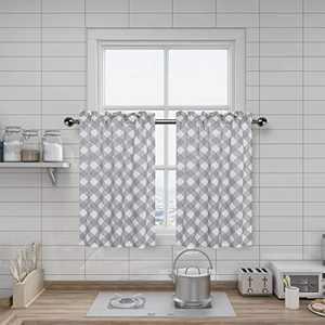 "Amzdecor Buffalo Check Plaid Window Café Kitchen Curtain Tiers, Buffalo Vintage Geometrical Lattice Rod Pocket Kitchen Farmhouse Window Curtain Set for Bathroom, 2 Panels, 27"" x 24"", Gray"