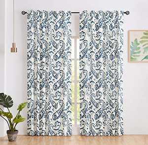 Amzdecor Blue Linen Window Treatment Sets Back Tab Rod Pocket Paisley Curtain Panels Extra Length Adjust Iron Tape , Soft Floral Print Drapes for Bedroom, Living Room, 52 X 95 Inch, 2 Panels