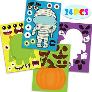 Joy Bang Halloween Stickers Halloween Party Games for Kids Make Your Own Jack-O-Lantern Make a Face Stickers DIY Halloween Party Activities Halloween Party Favors
