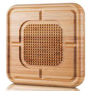 SKY LIGHT Carving Board, Bamboo Butcher Block with Juice Groove, Reversible Kitchen Chopping Board & Serving Tray with Spikes, Stabilizes Turkey, Meat, Vegetables While Carving, Medium