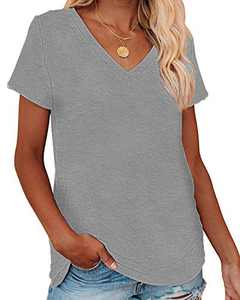 Corfrute Womens Solid Tunic Summer Short Sleeve Tops Casual V Neck Basic Tee Shirts(Light Gray,M)