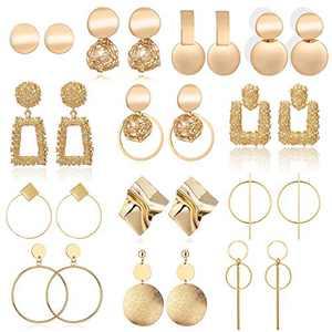 13 Pairs Statement Drop Dangle Earrings, Gold Stud Earrings for Women & Fashion Big Geometric Earrings for Girls, Hanging Earring Set Jewelry Gifts