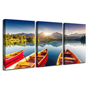 Modern Lakescape Sunrise in The Mountains Canvas Prints Artwork Contemporary Landscape Lake Pictures Photo Paintings on Canvas Wall Art for Home Decorations Wall Decor 3PK-18x24 x1.25