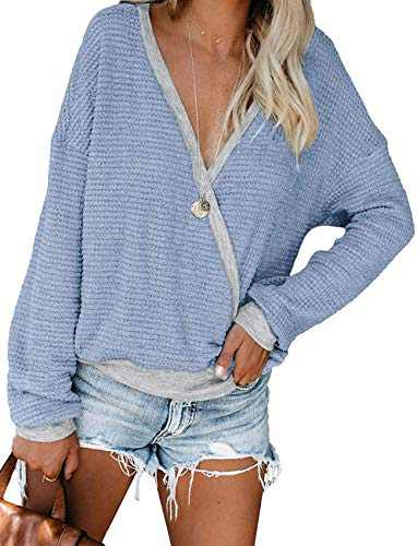 Womens Deep V Neck Long Sleeve Fall Waffle Knit Pullover Sweater Blouse (Blue,M)
