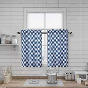 "Amzdecor Kitchen Tiers Buffalo Check Plaid Cafe Décor, Classic Lattice Diamond Pattern Design, Blue Rural Style Window Curtain, Set of 2, 27"" x 24"""